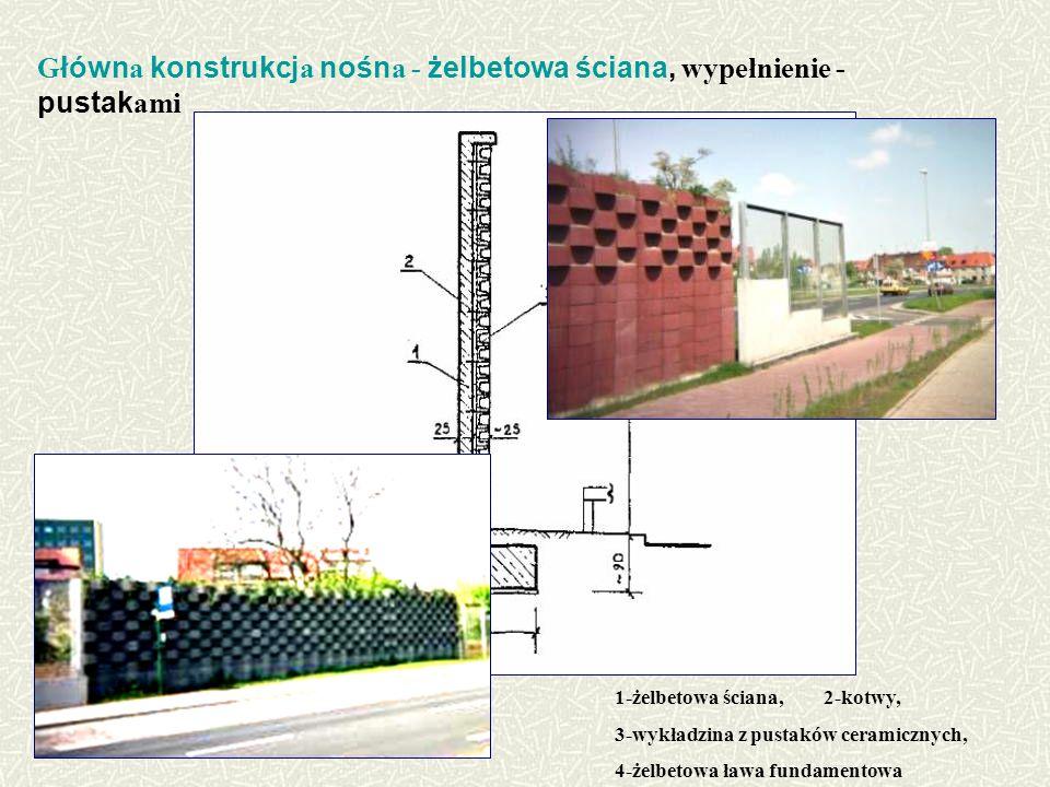 Główna konstrukcja nośna - żelbetowa ściana, wypełnienie - pustakami