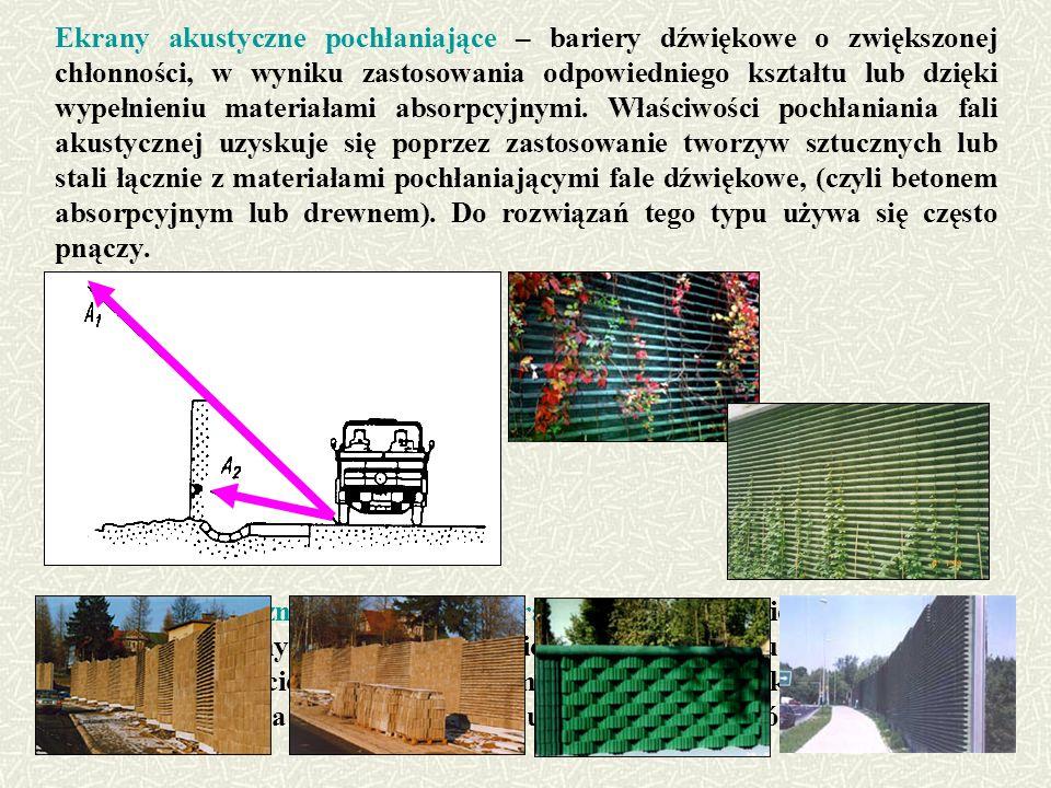 Ekrany akustyczne pochłaniające – bariery dźwiękowe o zwiększonej chłonności, w wyniku zastosowania odpowiedniego kształtu lub dzięki wypełnieniu materiałami absorpcyjnymi. Właściwości pochłaniania fali akustycznej uzyskuje się poprzez zastosowanie tworzyw sztucznych lub stali łącznie z materiałami pochłaniającymi fale dźwiękowe, (czyli betonem absorpcyjnym lub drewnem). Do rozwiązań tego typu używa się często pnączy.