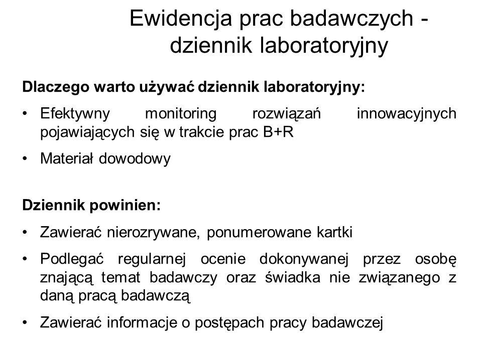 Ewidencja prac badawczych - dziennik laboratoryjny