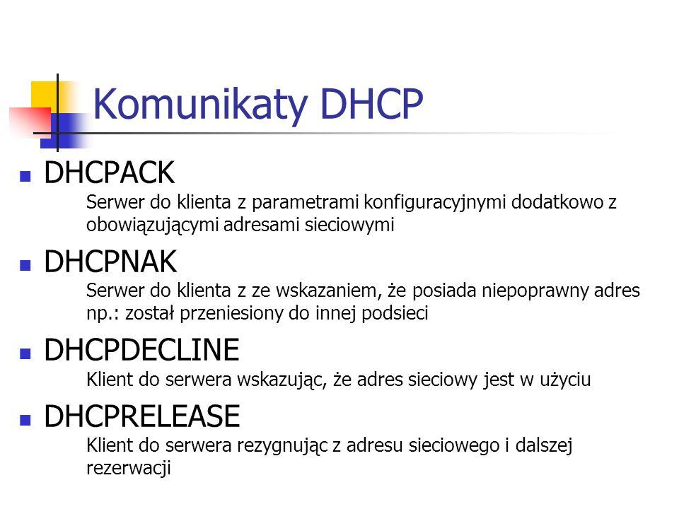 Komunikaty DHCP DHCPACK Serwer do klienta z parametrami konfiguracyjnymi dodatkowo z obowiązującymi adresami sieciowymi.