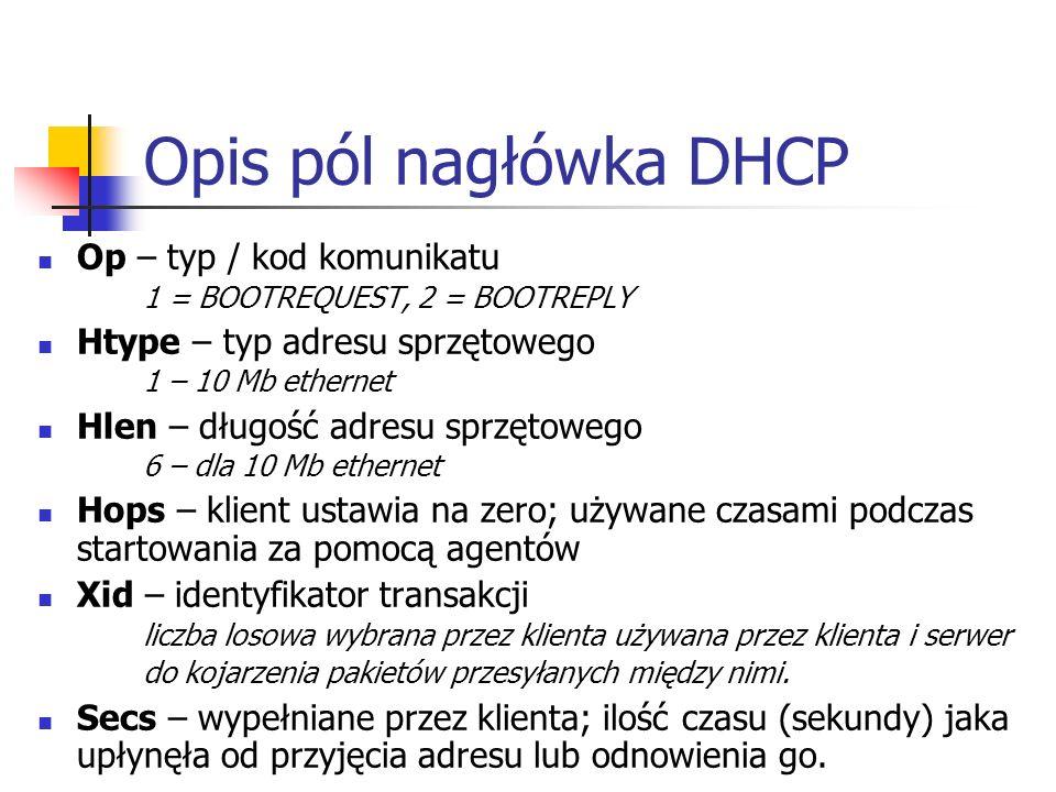 Opis pól nagłówka DHCP Op – typ / kod komunikatu 1 = BOOTREQUEST, 2 = BOOTREPLY. Htype – typ adresu sprzętowego 1 – 10 Mb ethernet.
