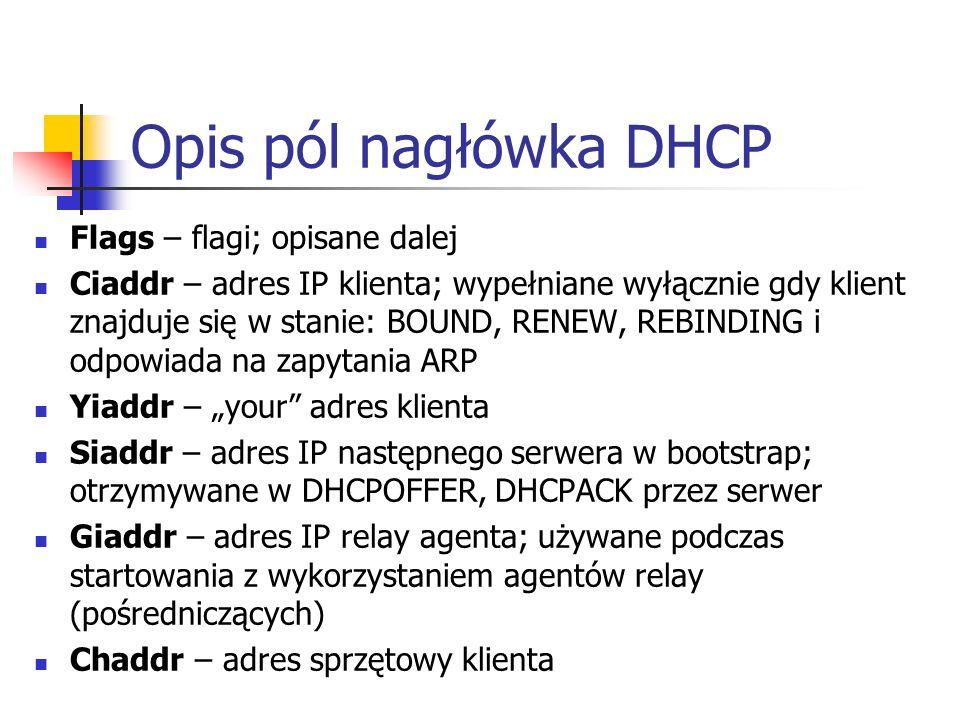Opis pól nagłówka DHCP Flags – flagi; opisane dalej