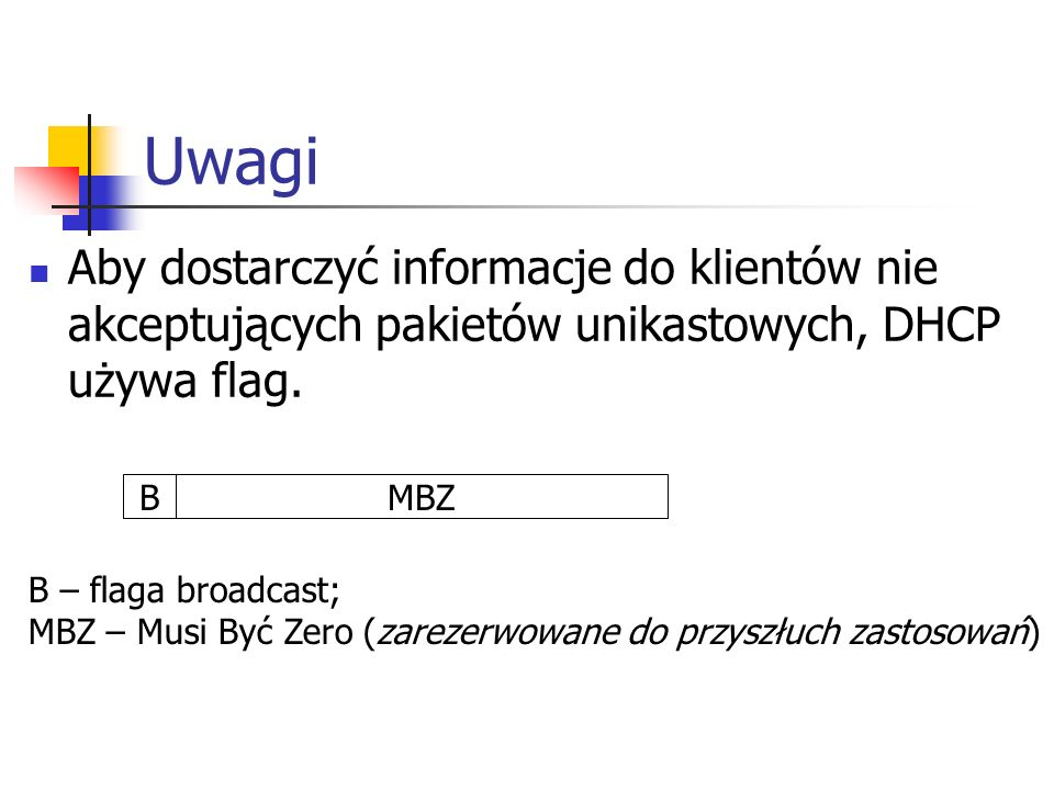 Uwagi Aby dostarczyć informacje do klientów nie akceptujących pakietów unikastowych, DHCP używa flag.