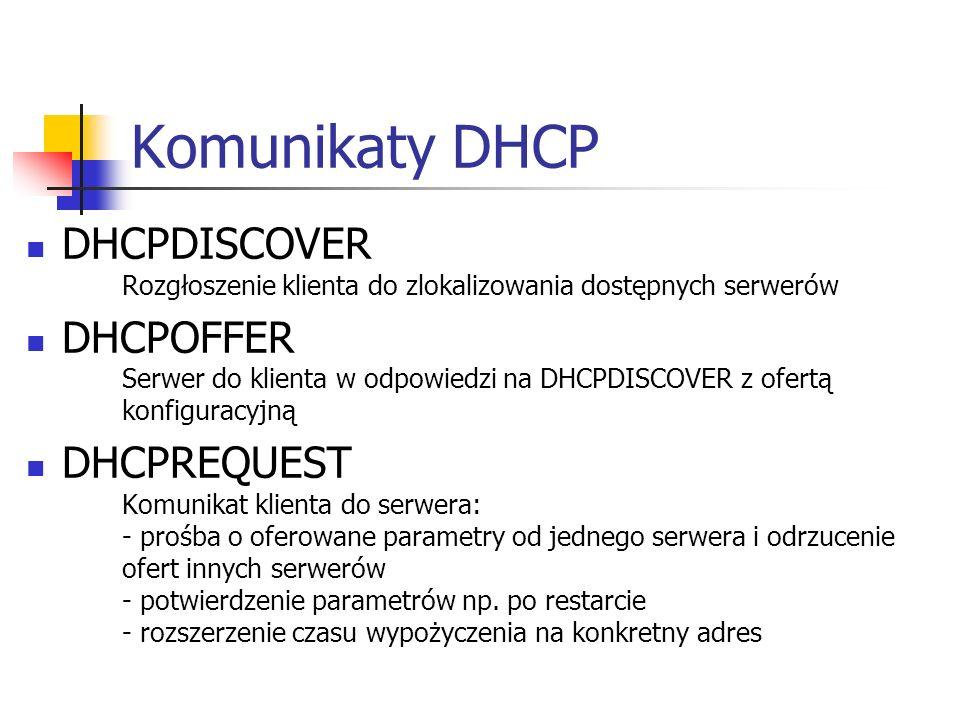 Komunikaty DHCP DHCPDISCOVER Rozgłoszenie klienta do zlokalizowania dostępnych serwerów.