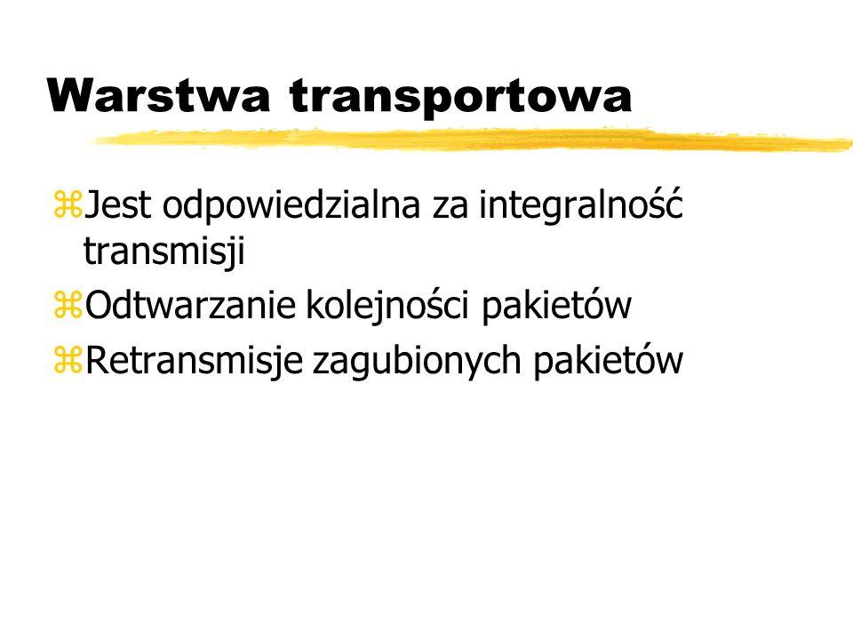 Warstwa transportowa Jest odpowiedzialna za integralność transmisji