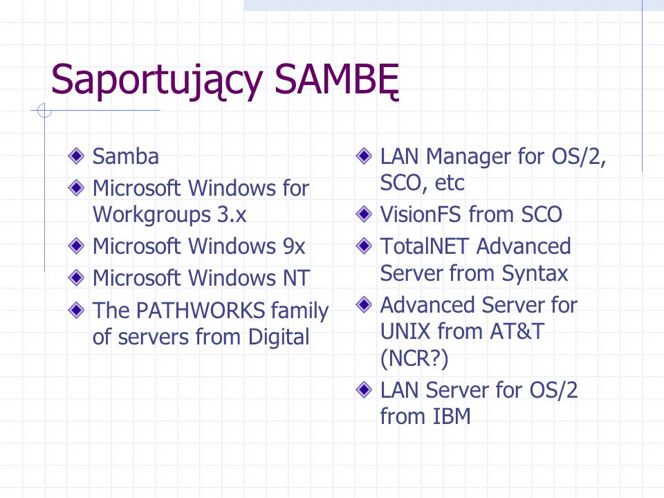 Saportujący SAMBĘ Samba Microsoft Windows for Workgroups 3.x