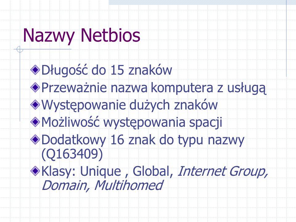 Nazwy Netbios Długość do 15 znaków Przeważnie nazwa komputera z usługą