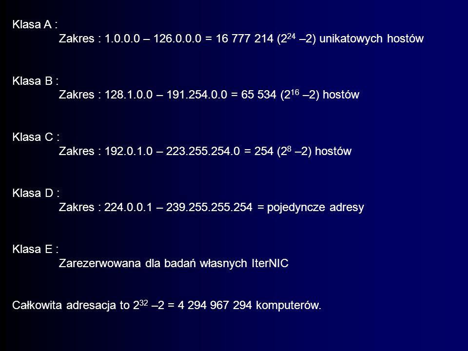 Klasa A : Zakres : 1.0.0.0 – 126.0.0.0 = 16 777 214 (224 –2) unikatowych hostów. Klasa B :