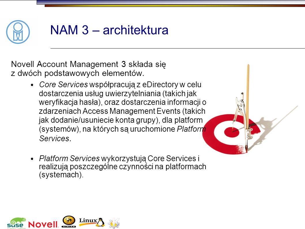 NAM 3 – architekturaNovell Account Management 3 składa się z dwóch podstawowych elementów.