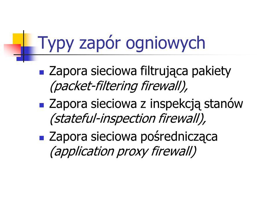 Typy zapór ogniowych Zapora sieciowa filtrująca pakiety (packet-filtering firewall),