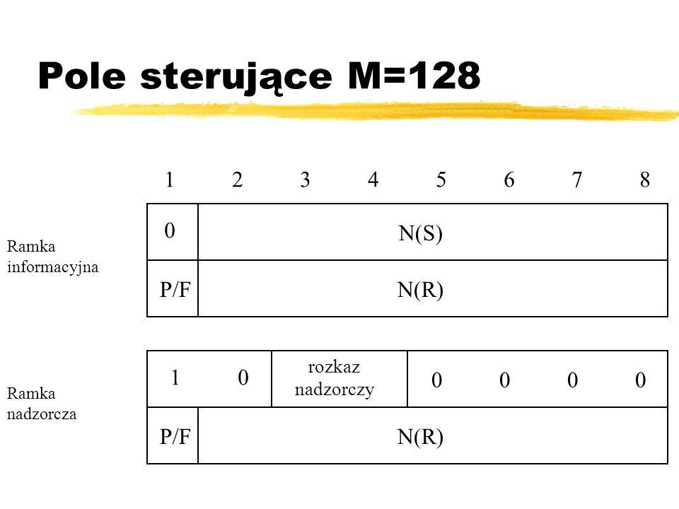 Pole sterujące M=128 1 2 3 4 5 6 7 8 N(S) P/F N(R) 1 0 0 0 0 0 P/F