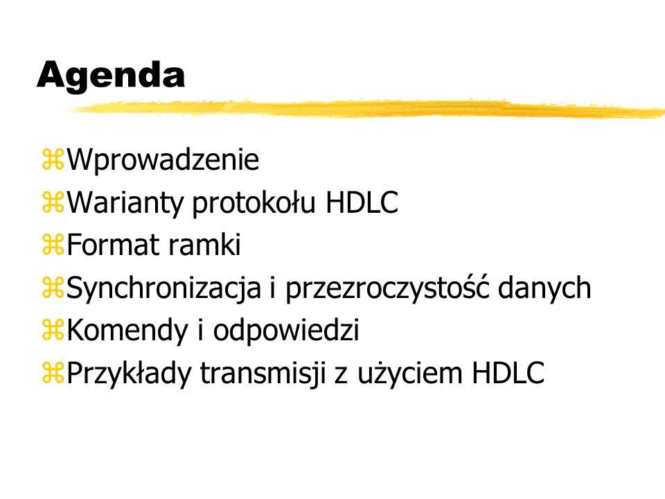 Agenda Wprowadzenie Warianty protokołu HDLC Format ramki