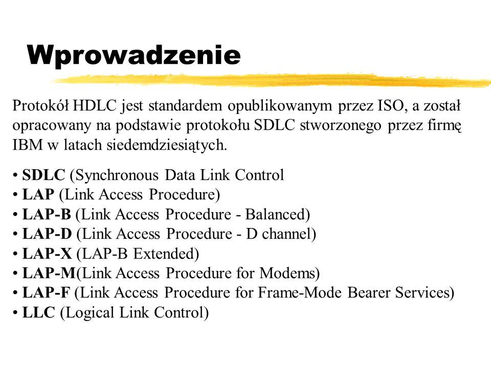 Wprowadzenie Protokół HDLC jest standardem opublikowanym przez ISO, a został. opracowany na podstawie protokołu SDLC stworzonego przez firmę.