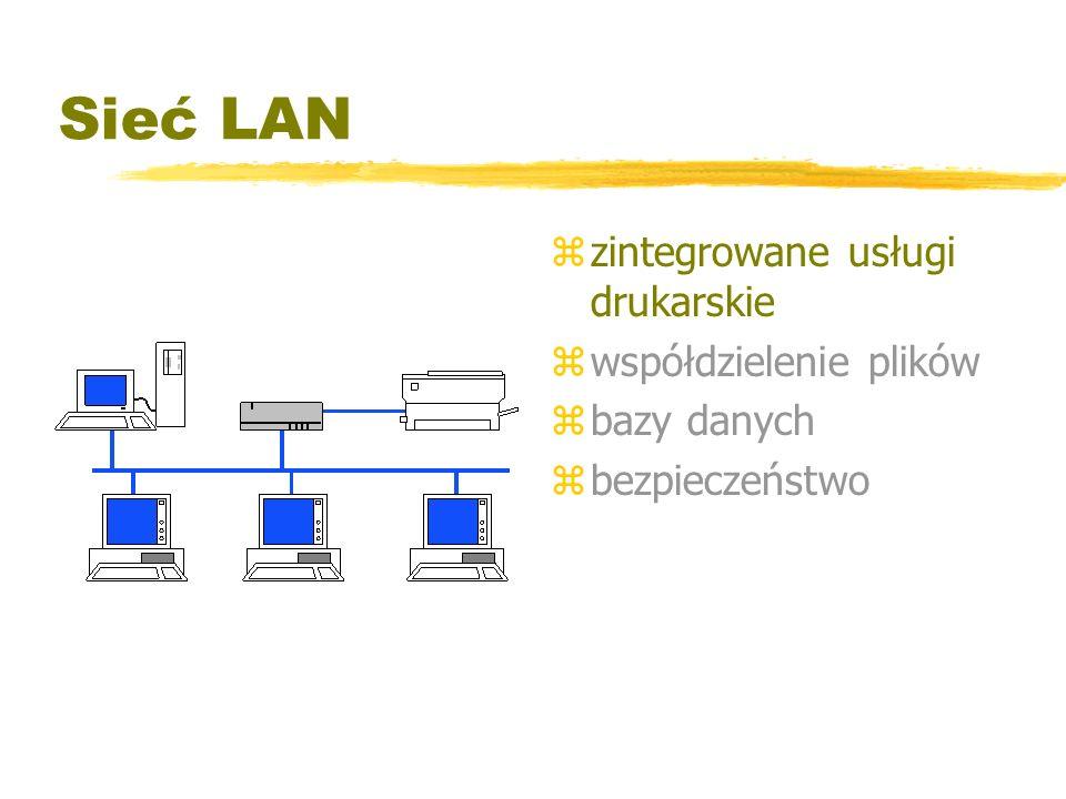 Sieć LAN zintegrowane usługi drukarskie współdzielenie plików