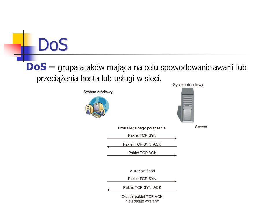 DoS DoS – grupa ataków mająca na celu spowodowanie awarii lub przeciążenia hosta lub usługi w sieci.