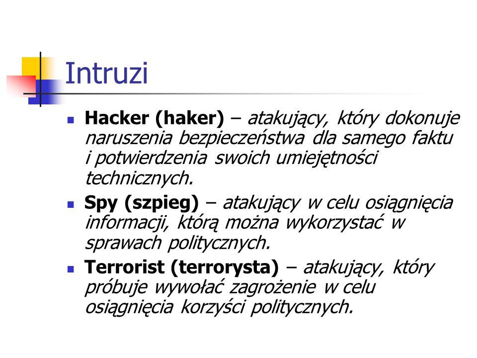 Intruzi Hacker (haker) – atakujący, który dokonuje naruszenia bezpieczeństwa dla samego faktu i potwierdzenia swoich umiejętności technicznych.