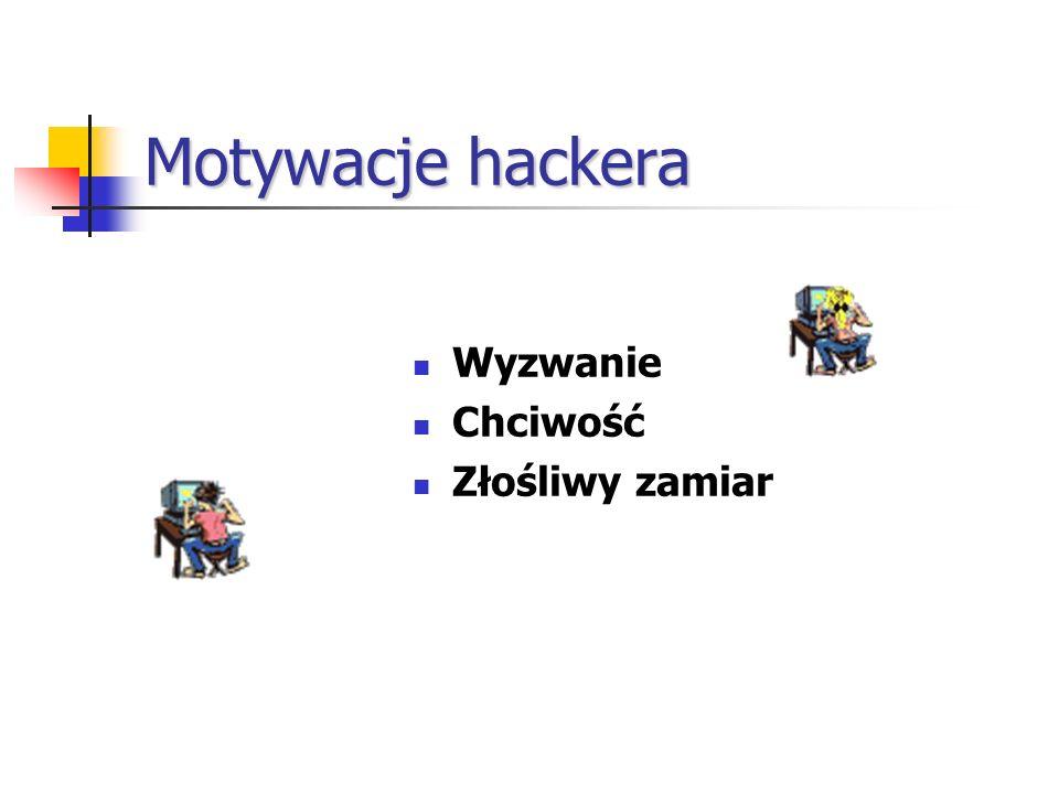 Motywacje hackera Wyzwanie Chciwość Złośliwy zamiar