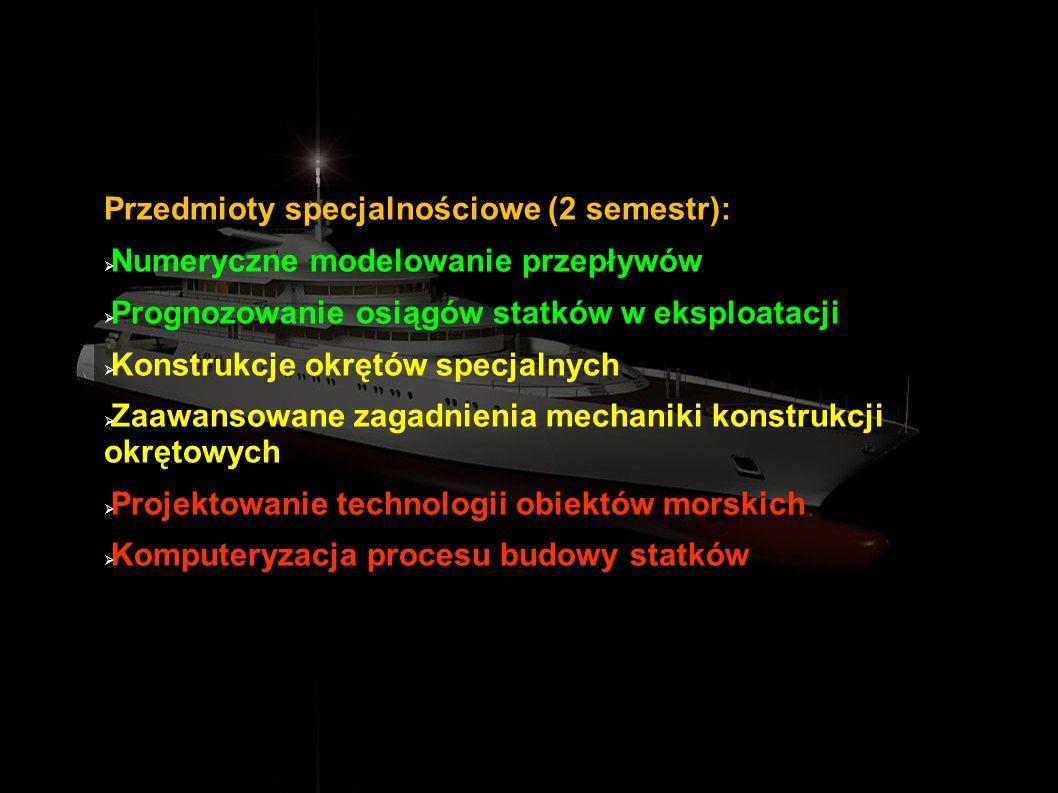 Przedmioty specjalnościowe (2 semestr):
