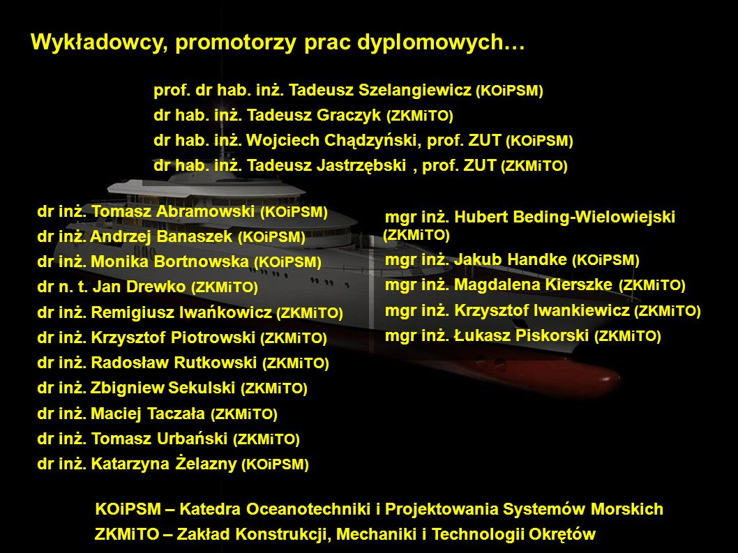 Wykładowcy, promotorzy prac dyplomowych…