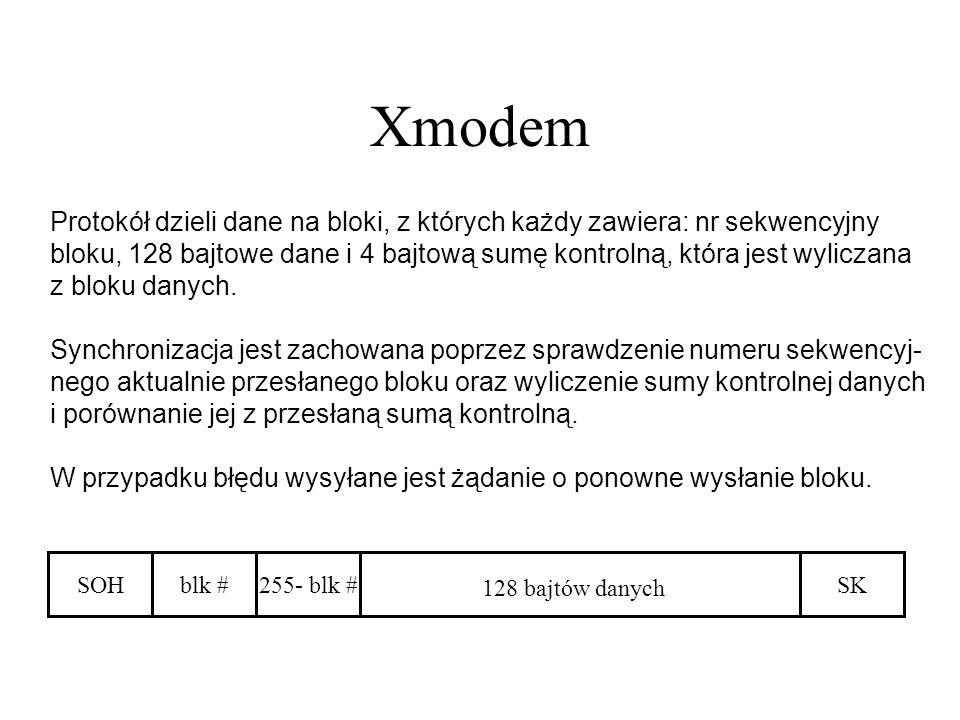 Xmodem Protokół dzieli dane na bloki, z których każdy zawiera: nr sekwencyjny.