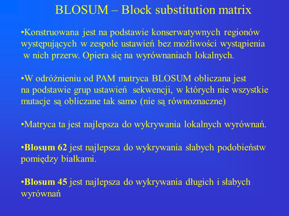 BLOSUM – Block substitution matrix