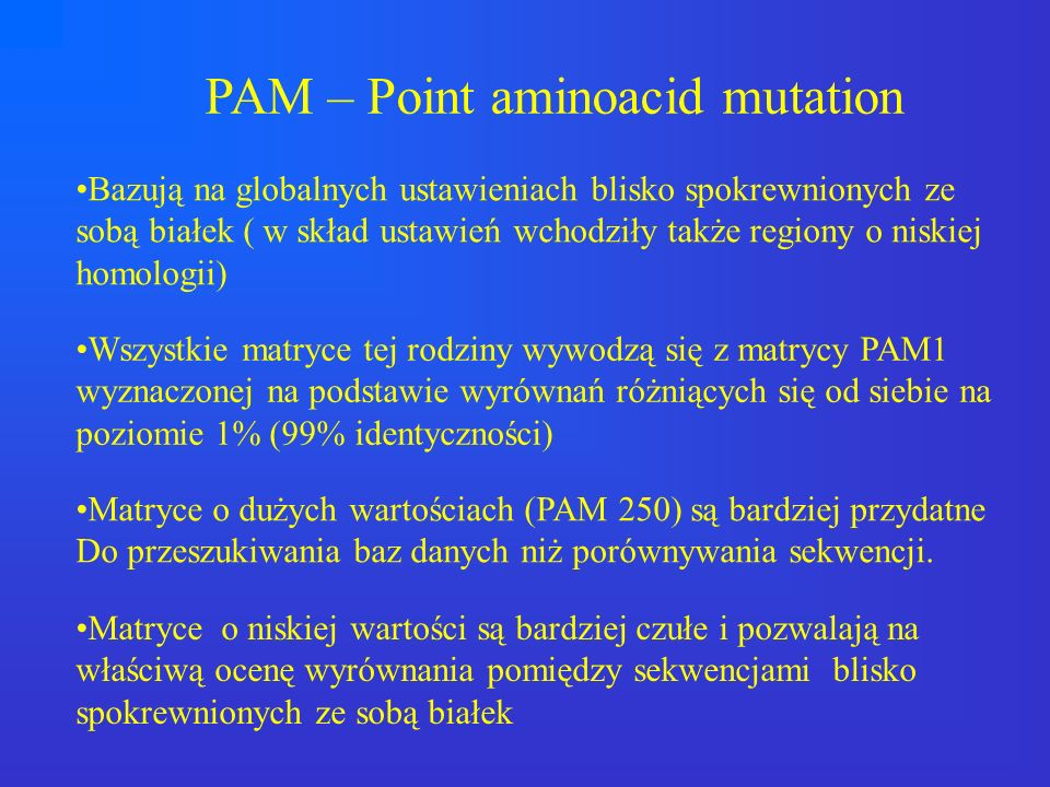 PAM – Point aminoacid mutation