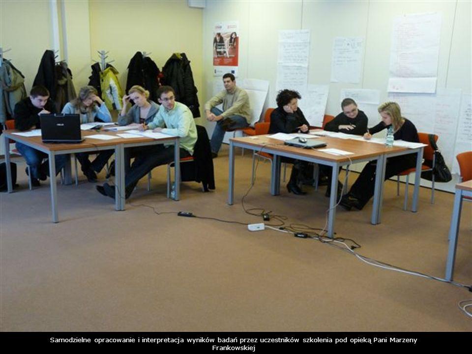 Samodzielne opracowanie i interpretacja wyników badań przez uczestników szkolenia pod opieką Pani Marzeny Frankowskiej