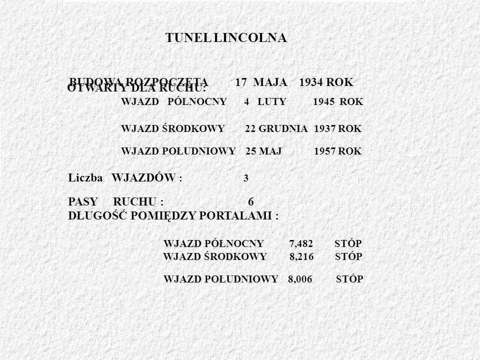 TUNEL LINCOLNA BUDOWA ROZPOCZĘTA 17 MAJA 1934 ROK Liczba WJAZDÓW : 3