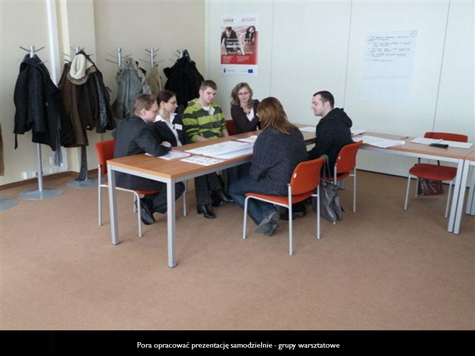 Pora opracować prezentację samodzielnie - grupy warsztatowe