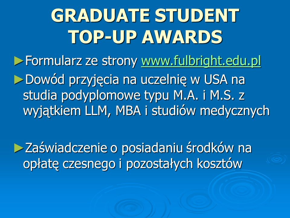 GRADUATE STUDENT TOP-UP AWARDS