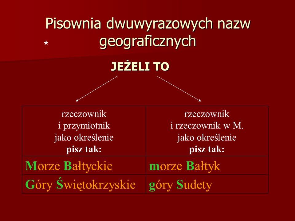Pisownia dwuwyrazowych nazw geograficznych