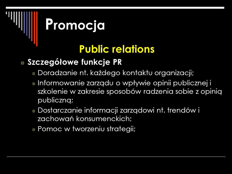 Promocja Public relations Szczegółowe funkcje PR