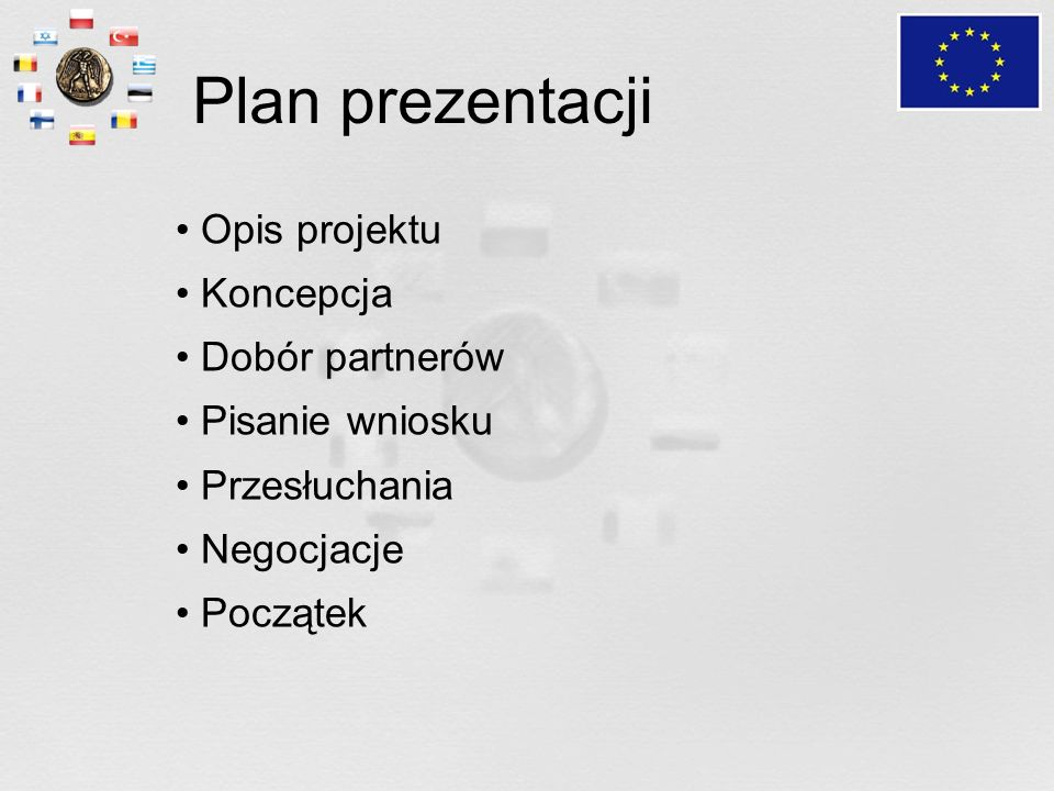 Plan prezentacji Opis projektu Koncepcja Dobór partnerów