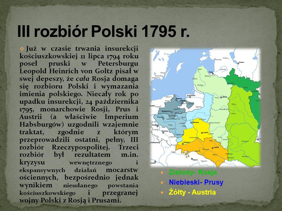 III rozbiór Polski 1795 r. Zielony- Rosja Niebieski- Prusy