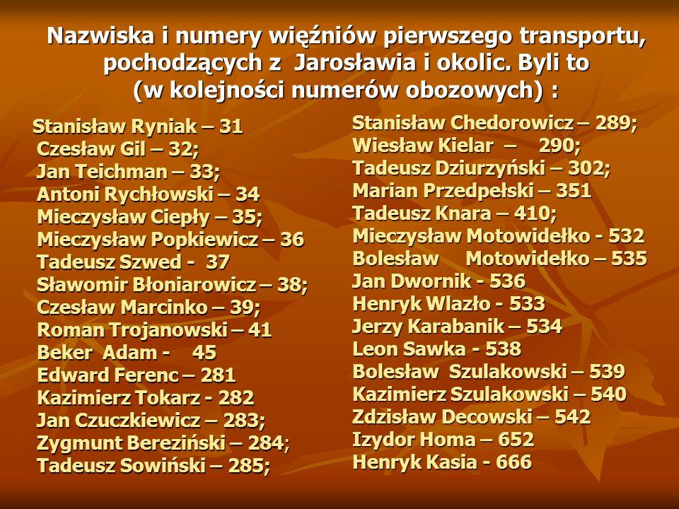 Nazwiska i numery więźniów pierwszego transportu, pochodzących z Jarosławia i okolic. Byli to (w kolejności numerów obozowych) :