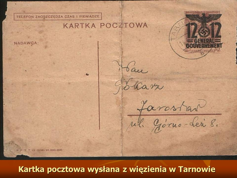 Kartka pocztowa wysłana z więzienia w Tarnowie
