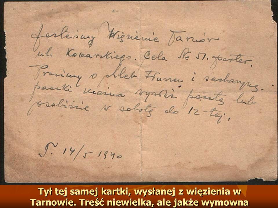 Tył tej samej kartki, wysłanej z więzienia w Tarnowie