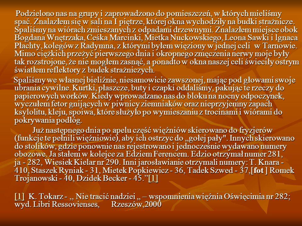 Podzielono nas na grupy i zaprowadzono do pomieszczeń, w których mieliśmy spać. Znalazłem się w sali na I piętrze, której okna wychodziły na budki strażnicze. Spaliśmy na wiórach zmieszanych z odpadami drzewnymi. Znalazłem miejsce obok Bogdana Wnętrzaka, Ceśka Marcinki, Mietka Nuckowskiego, Leona Sawki i lgnaca Płachty, kolegów z Radymna, z którymi byłem więziony w jednej celi w Tarnowie. Mimo ciężkich przeżyć pierwszego dnia i okropnego zmęczenia nerwy moje były tak rozstrojone, że nie mogłem zasnąć, a ponadto w okna naszej celi świeciły ostrym światłem reflektory z budek strażniczych.
