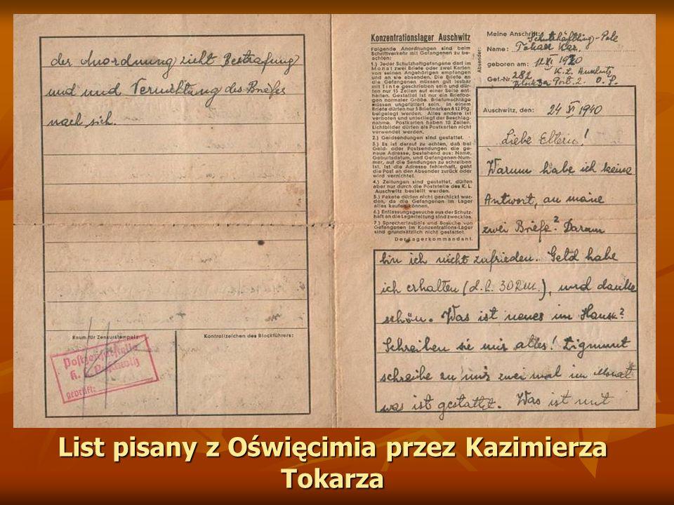 List pisany z Oświęcimia przez Kazimierza Tokarza