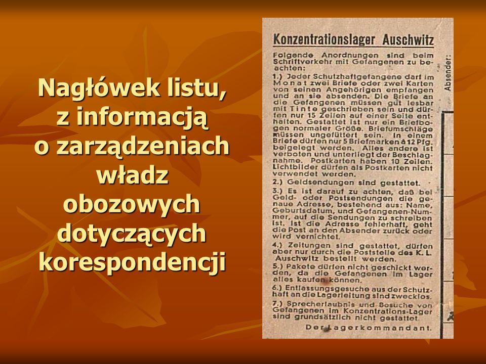 Nagłówek listu, z informacją o zarządzeniach władz obozowych dotyczących korespondencji