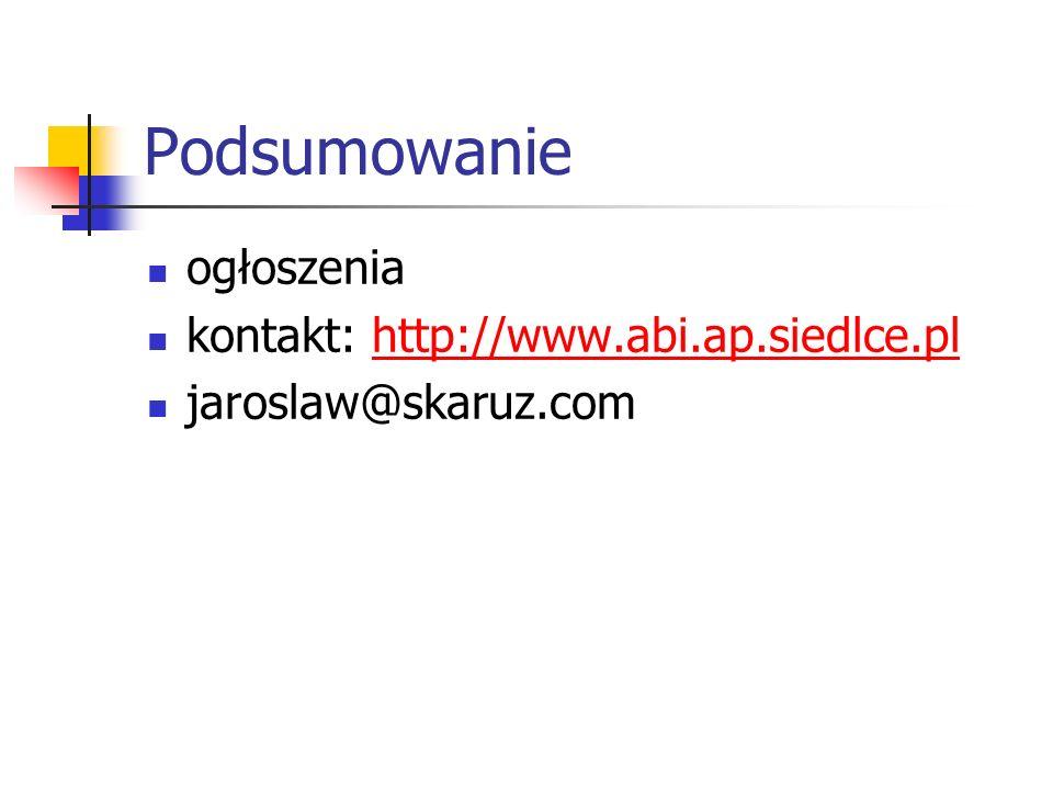 Podsumowanie ogłoszenia kontakt: http://www.abi.ap.siedlce.pl
