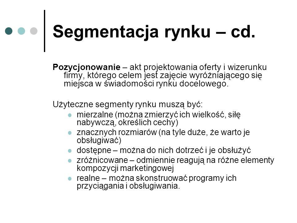Segmentacja rynku – cd.