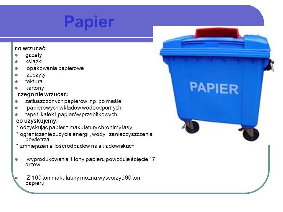 Papier co wrzucać: gazety książki opakowania papierowe zeszyty tektura