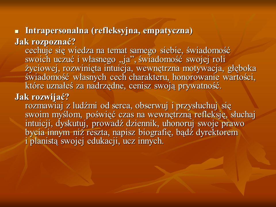 Intrapersonalna (refleksyjna, empatyczna)