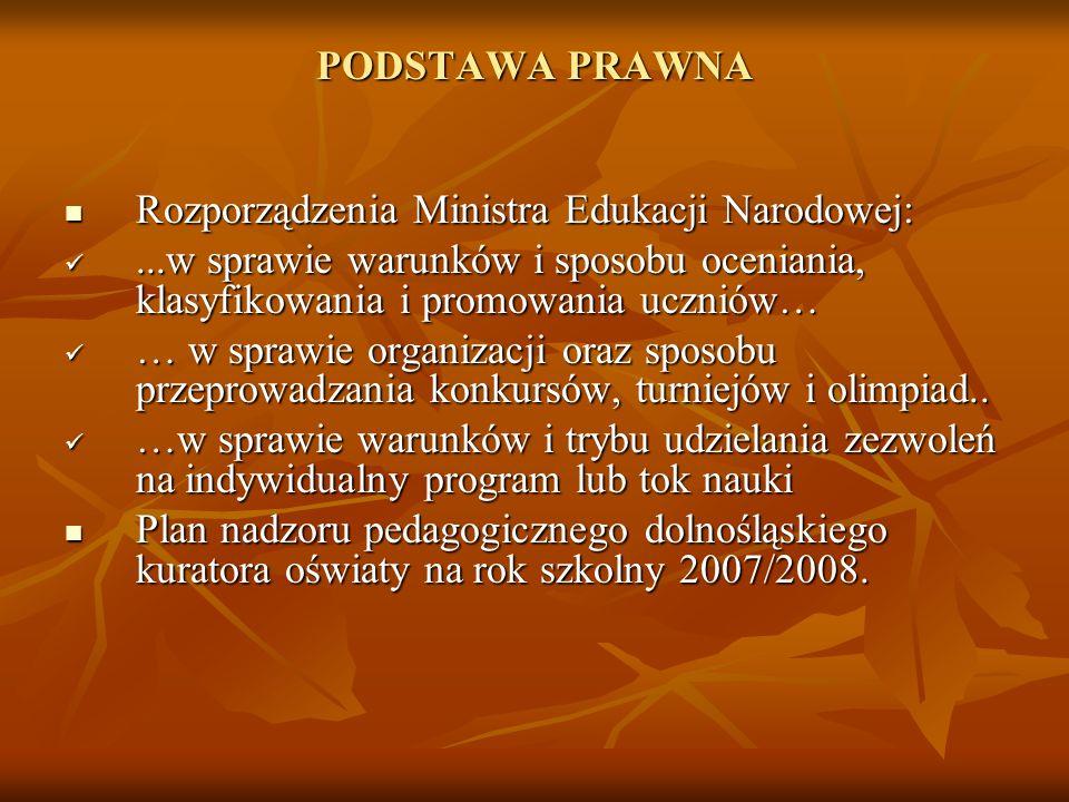 PODSTAWA PRAWNA Rozporządzenia Ministra Edukacji Narodowej: ...w sprawie warunków i sposobu oceniania, klasyfikowania i promowania uczniów…