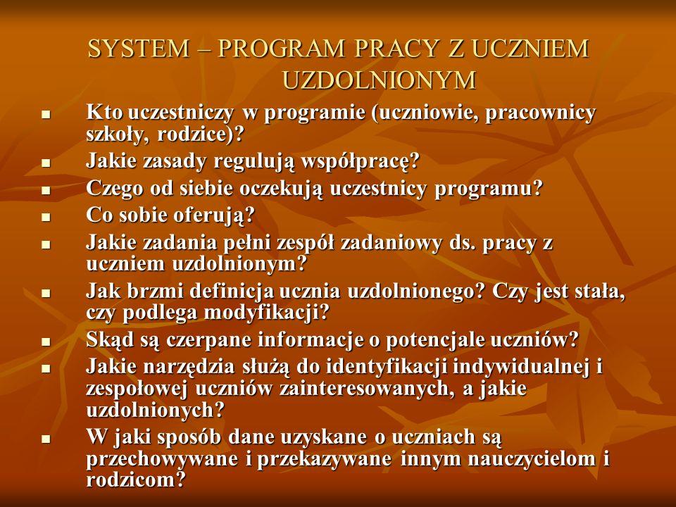 SYSTEM – PROGRAM PRACY Z UCZNIEM UZDOLNIONYM