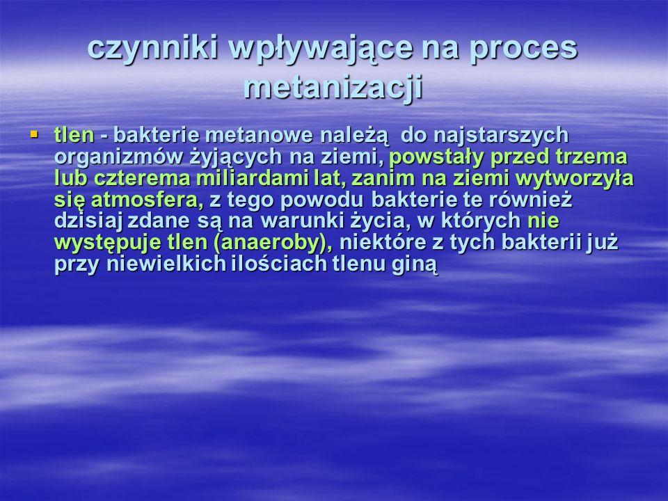 czynniki wpływające na proces metanizacji