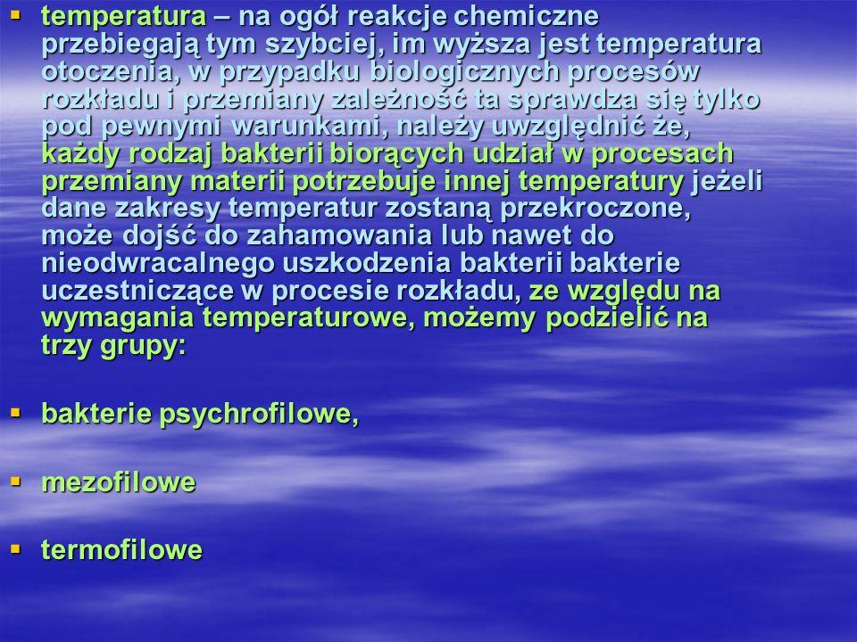 bakterie psychrofilowe, mezofilowe termofilowe