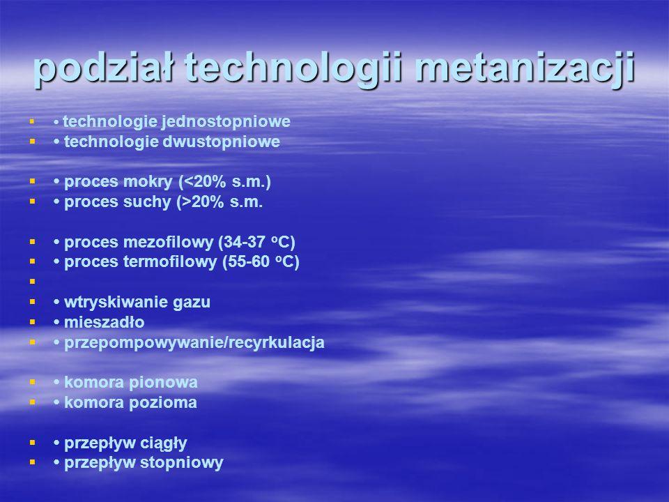 podział technologii metanizacji