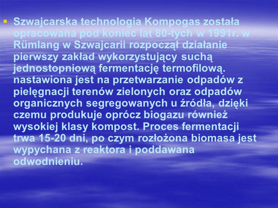 Szwajcarska technologia Kompogas została opracowana pod koniec lat 80-tych w 1991r.
